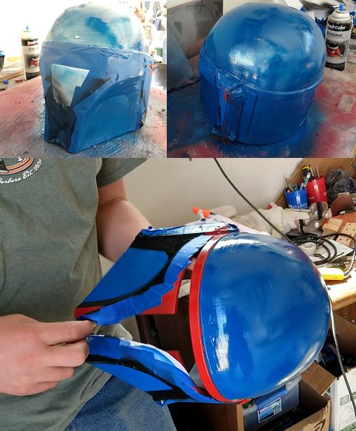 045 - painting helmet blue